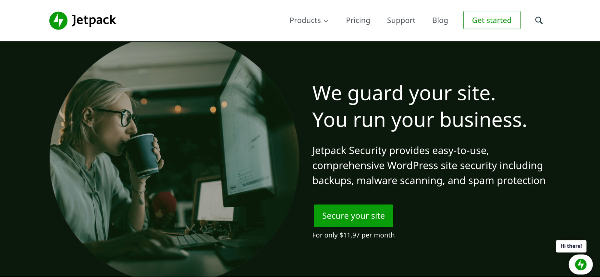 Jetpack Security landing page with details about pricing and features