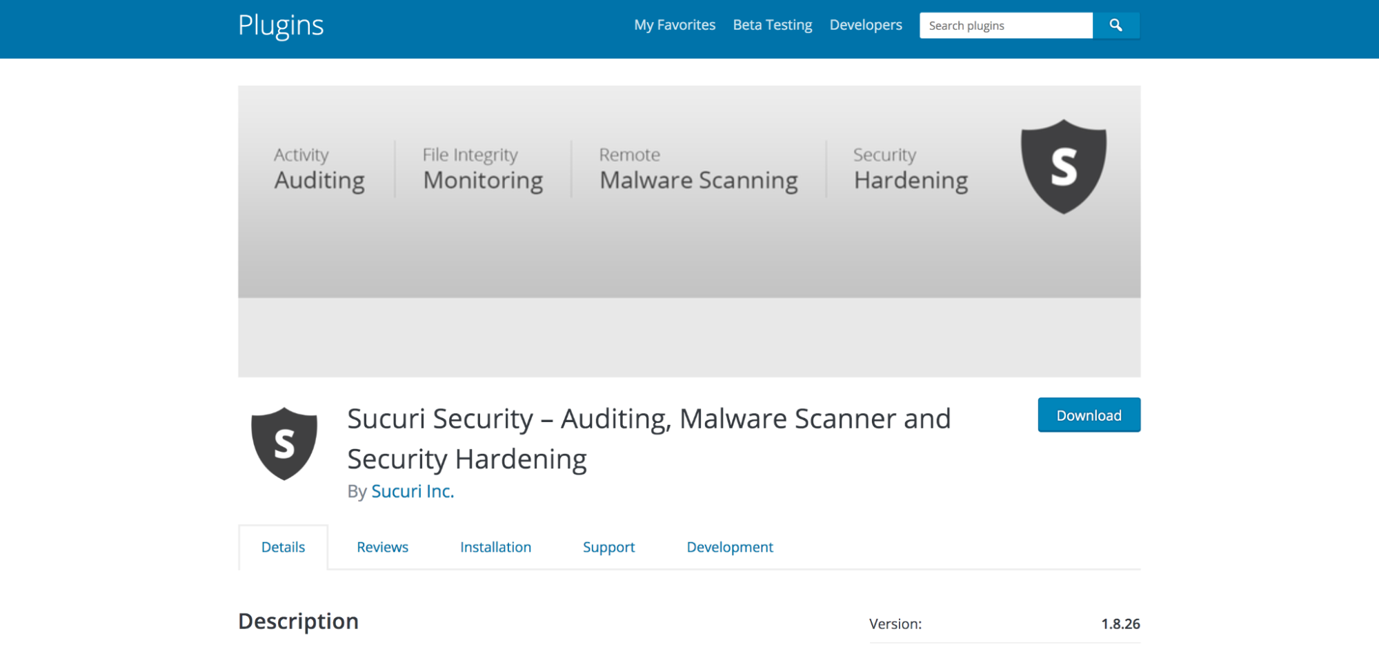 Sucuri Security plugin shown in the WordPress repository