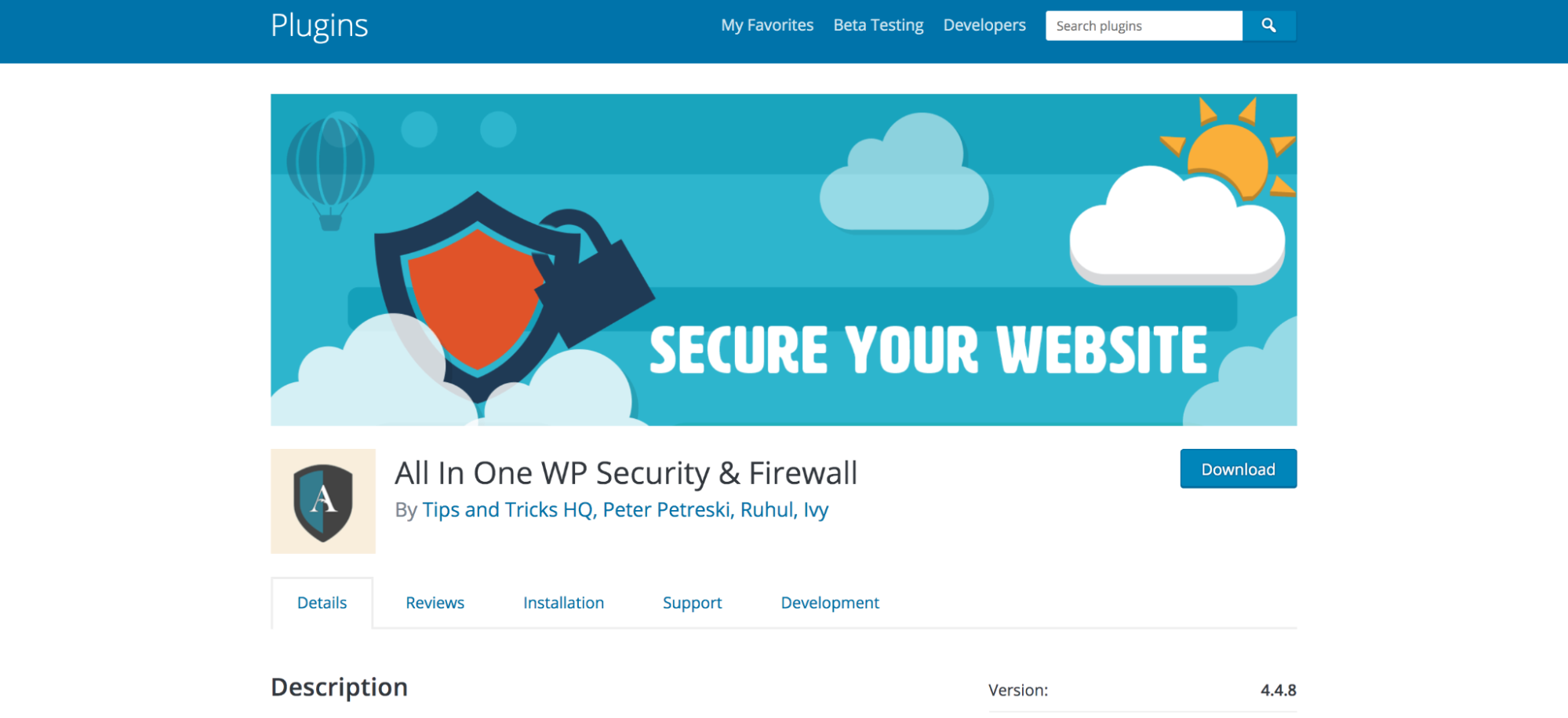 All in One WP Security & Firewall listed in the WordPress repository