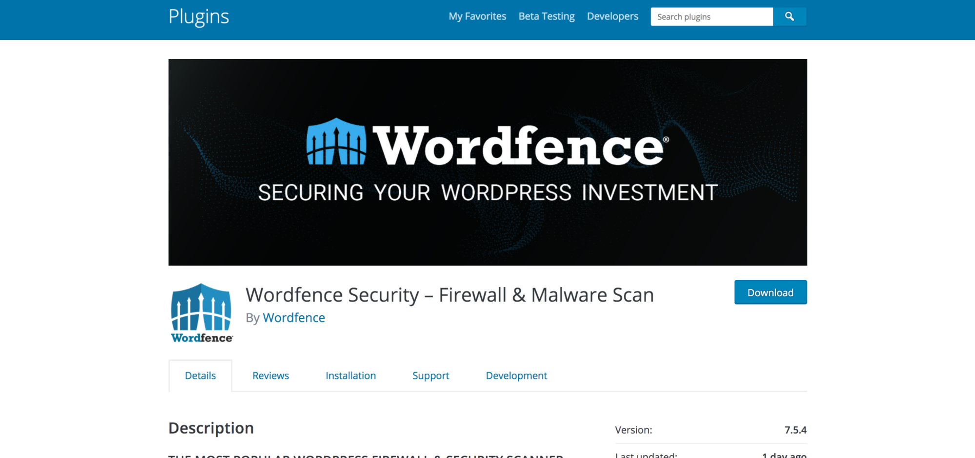 Wordfence plugin listed in the WordPress repository