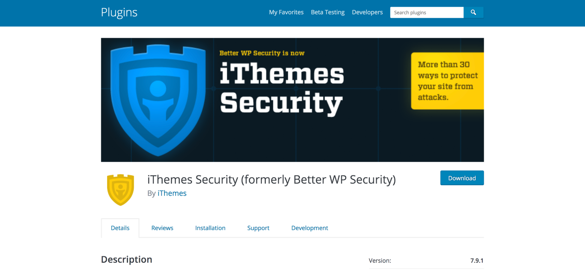 iThemes Security plugin page in the WordPress repository