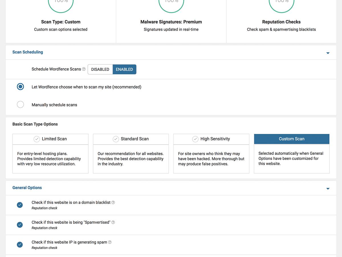 Wordfence scan settings dashboard