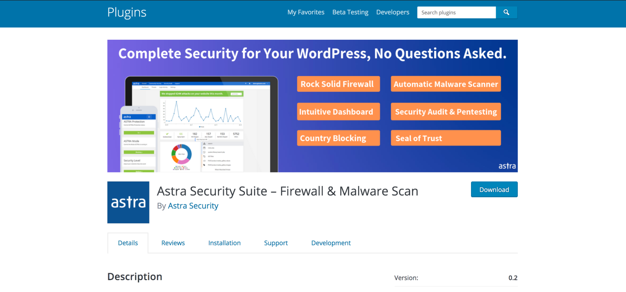 Astra Security page in the WordPress repository