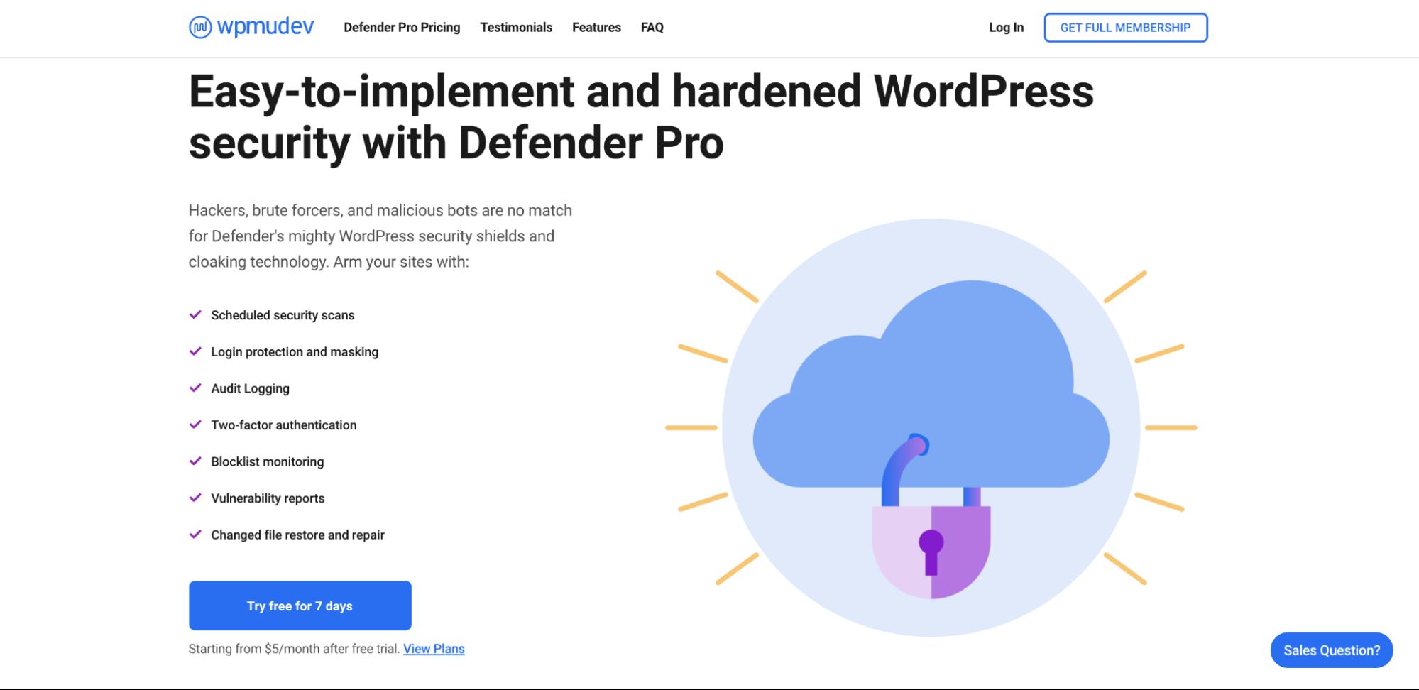 WPMUDev landing page for Defender Pro