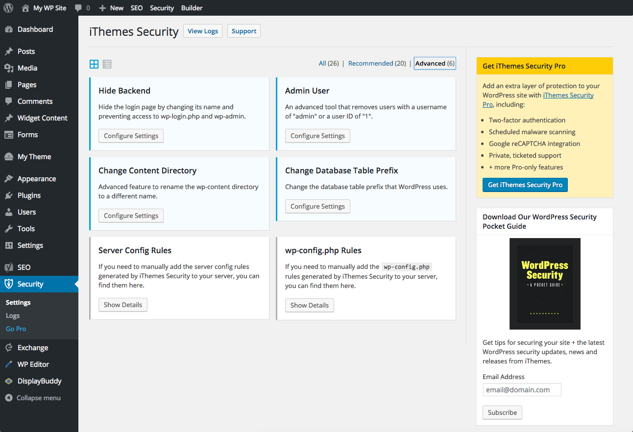 iThemes Security settings dashboard
