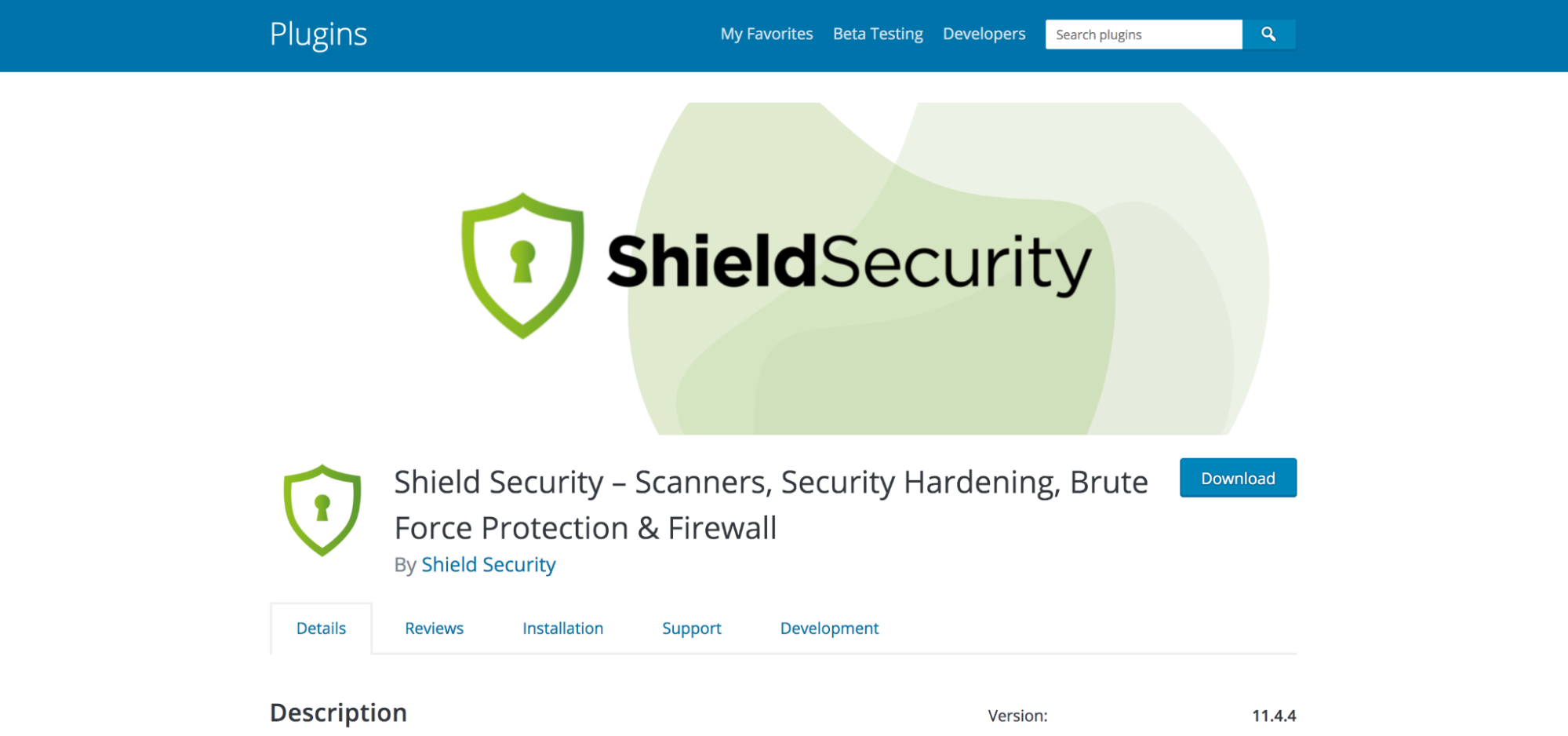 ShieldSecurity plugin page in the WordPress repository