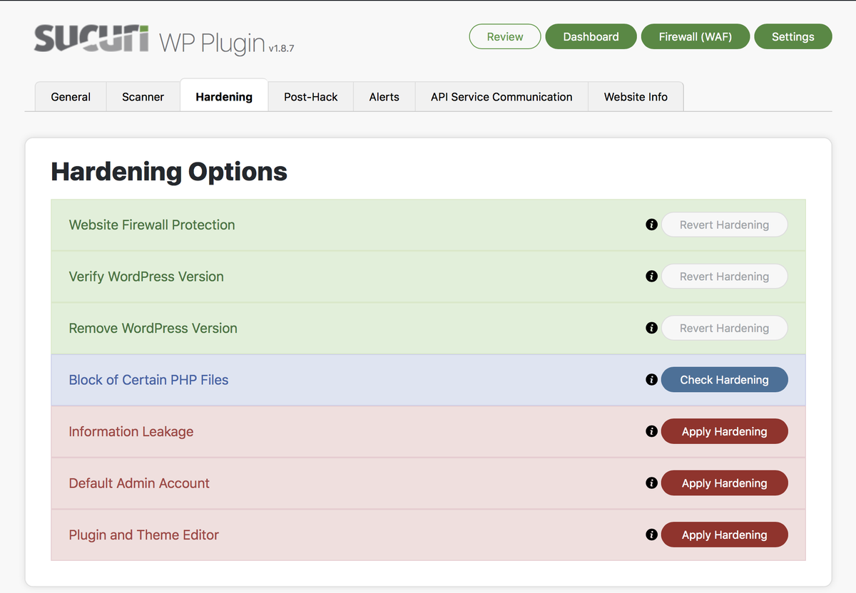 Sucuri hardening options in the WordPress dashboard