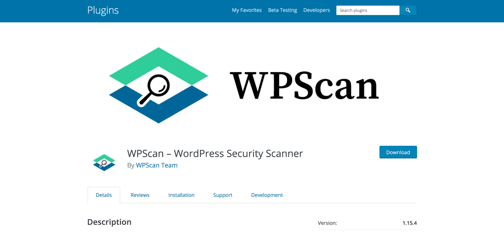 WPScan page in the WordPress repository