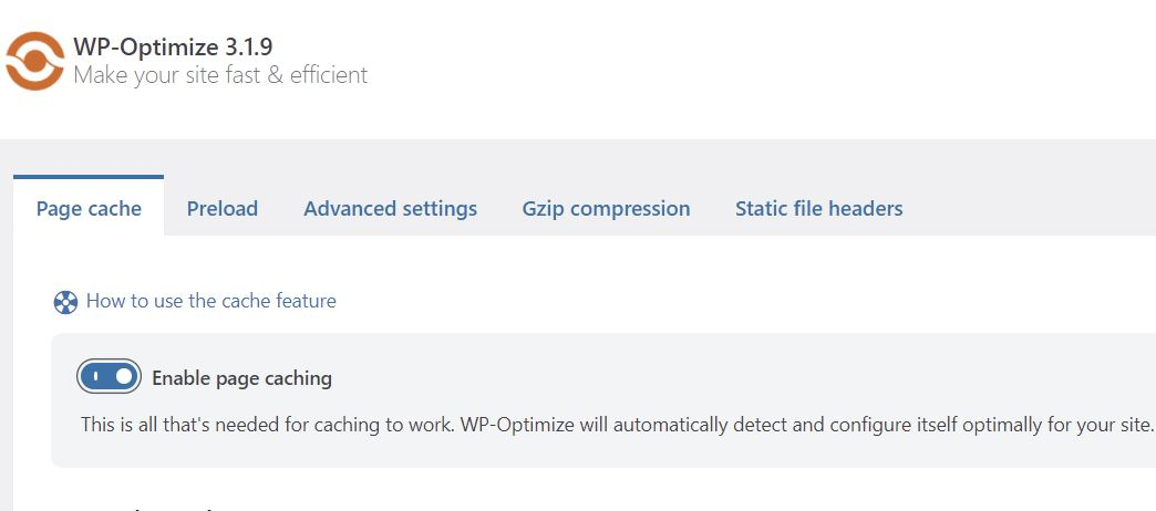 Enable Caching in WP-Optimize