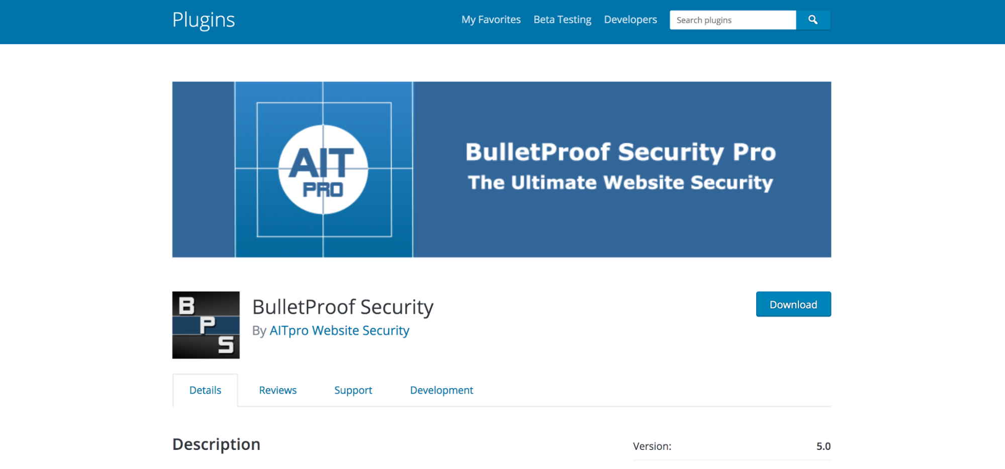 BulletProof Security page in the WordPress repository