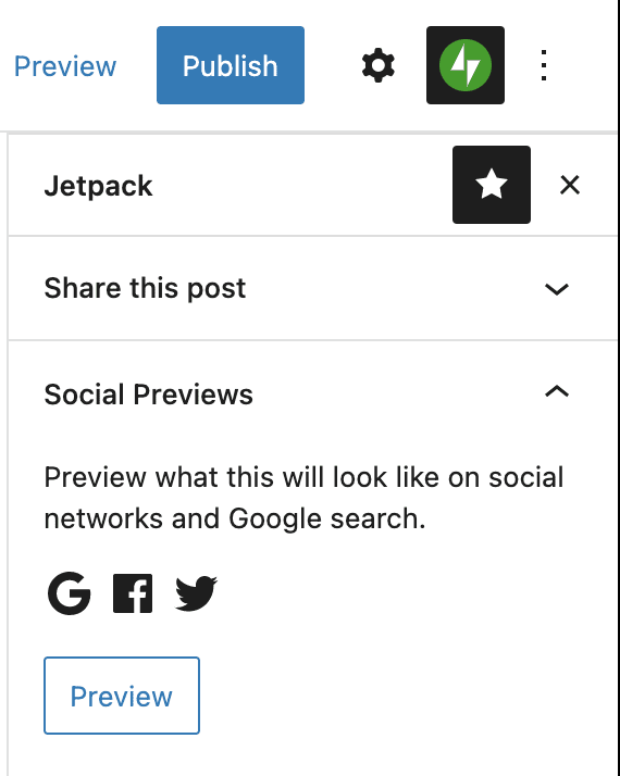 Social Previews from the Jetpack Sidebar