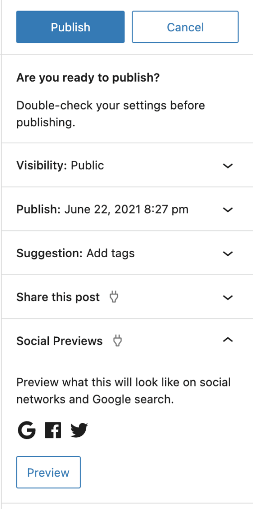 Social Previews from the Pre-Publish Sidebar
