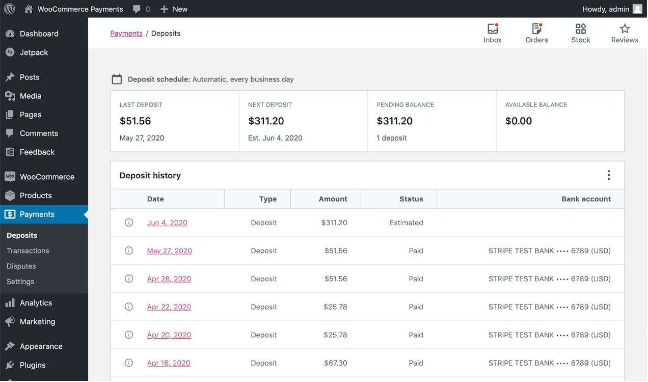 WooCommerce Payments dashboardd